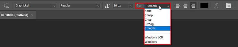 قابلیت anti-aliasing و بی کیفیت شدن متن در فتوشاپ